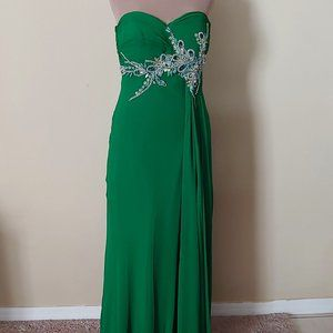 NWT Faviana Strapless Long Gown in Green Style7100